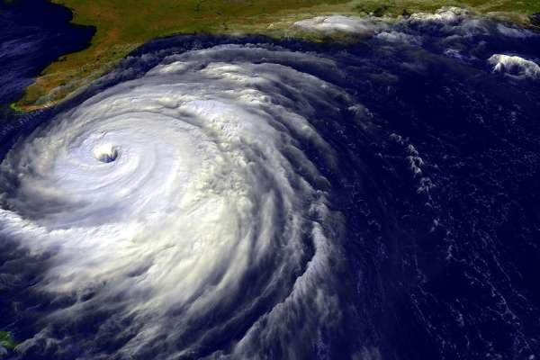 aerial view of a hurricane approaching the state of Florida